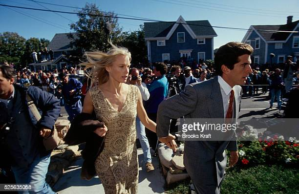 John F Kennedy Jr and Daryl Hannah arrive at the wedding of his cousin Edward Kennedy Jr in Rhode Island