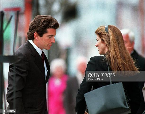 John F Kennedy Jr and his sister Caroline Kennedy Schlossberg prepare to enter funeral services for Dave Powers at St Catherine's Church