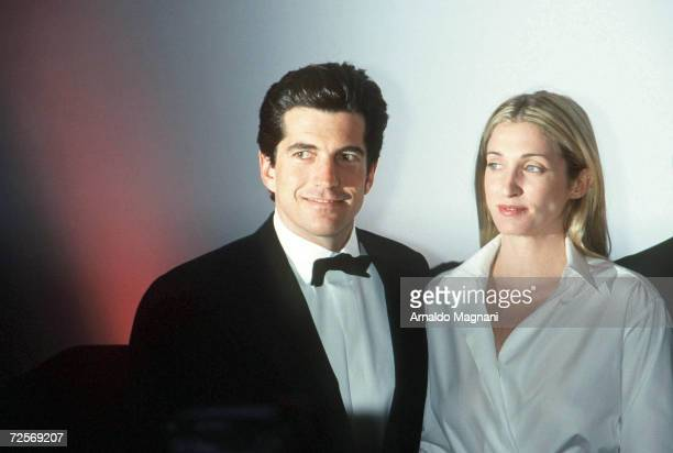 John F Kennedy Jr and his wife Carolyn Bessette Kennedy attend the Brite Nite Whitney Fundraising Gala March 9 1999 at the Whitney Museum of American...