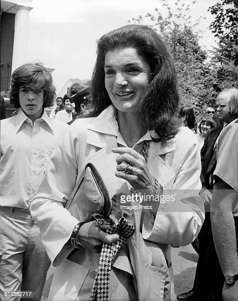 John F Kennedy Jr and Jacqueline Kennedy Onassis attends Caroline Kennedys Graduation from Concord Academy on June 5 1975 in Concord Massachusetts