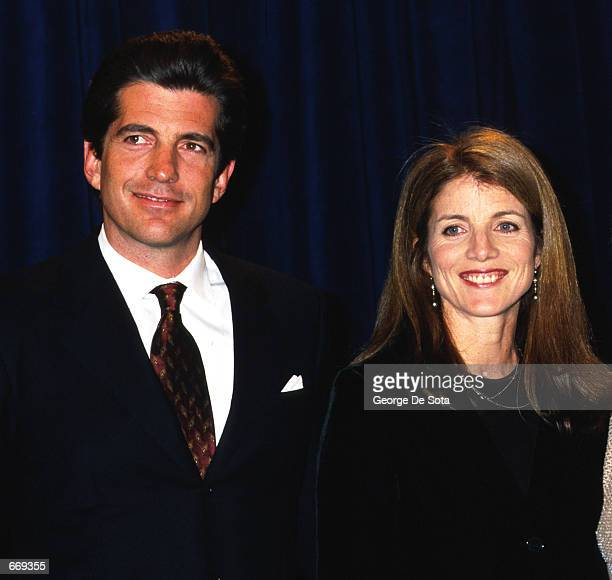 John F Kennedy Jr and sister Caroline announces a scholarship to benefit The Jackie Robinson Foundation Schlorship Fund March 8 1999 at The Waldorf...