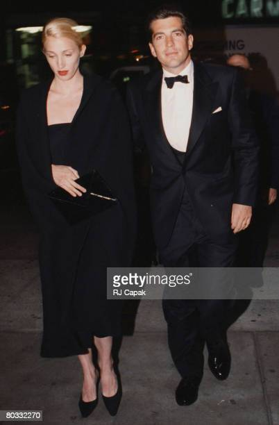 John F Kennedy Jr Carolyn Bessette arrive at the Municipal Art Society Jacqueline Onassis Medal to Stephen Swid Minskoff Theater New York City NY...