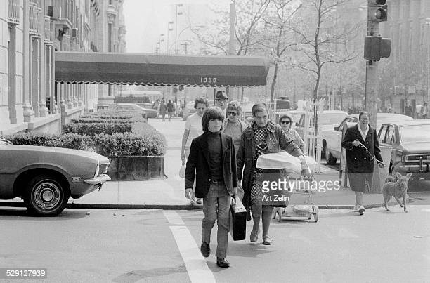 John F Kennedy Jr crossing the street with his nanny circa 1970 New York