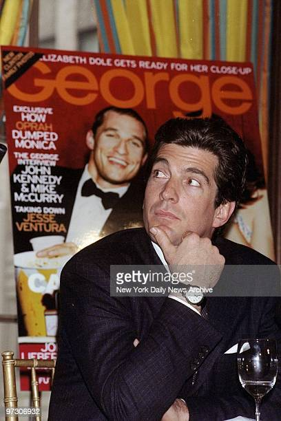 John F Kennedy Jr editor of George announces that former Sen Alfonse D'Amato will be a columnist for the magazine