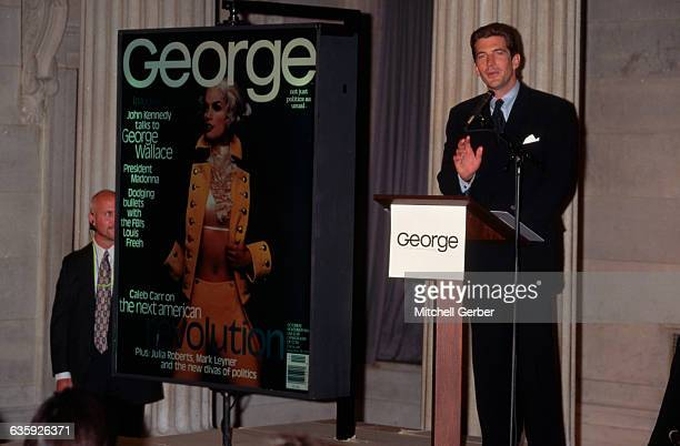 John F Kennedy Jr holds a press conference to announce the debut of George a political magazine edited by Kennedy