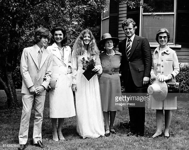 John F Kennedy Jr Jacqueline Kennedy Onassis Caroline Kennedy Rose Kennedy Ted Kennedy and Janet Auchincloss attends Caroline Kennedys graduation...