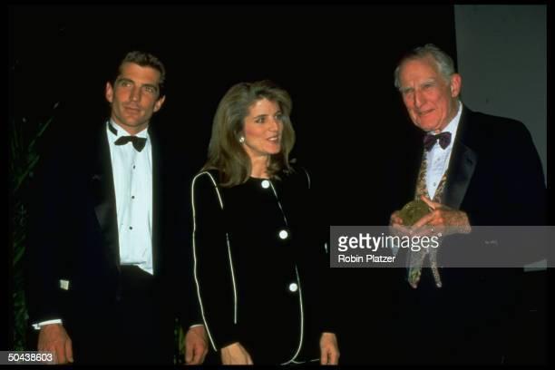 John F Kennedy Jr sister Caroline Kennedy presenting Jacqueline Kennedy Onassis Award to writer Brendan Gill