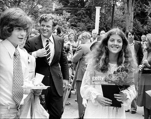 John F Kennedy Jr Ted Kennedy and Caroline Kennedy attends Caroline Kennedys Graduation from Concord Academy on June 5 1975 in Concord Massachusetts