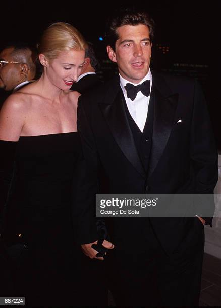 John F Kennedy Jr with his wife Carolyn attend a function in honor of his mother Jacqueline Kennedy October 4 at Grand Central Station in New York...