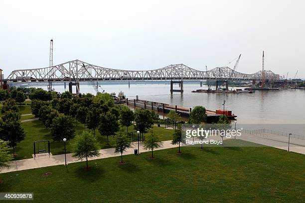 John F Kennedy Memorial Bridge as photographed from the Big Four Railroad Bridge Pedestrian and Bicycle Path on May 30 2014 in Louisville Kentucky