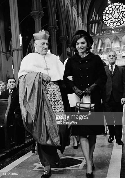 NBC NEWS John F Kennedy Memorial Mass Aired Pictured Cardinal Richard J Cushing former First Lady Jacqueline Kennedy during a memorial mass for the...