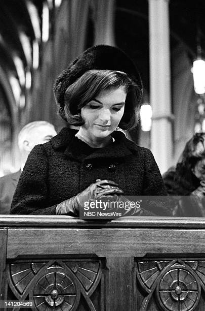 NBC NEWS John F Kennedy Memorial Mass Aired Pictured Former First Lady Jacqueline Kennedy during a memorial mass for the late President John F...