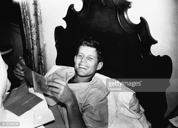 John F Kennedy recovers from jaundice in a London hospital in 1937