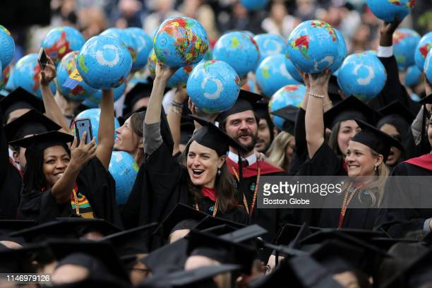 John F. Kennedy School of Government graduates celebrate during the 2019 Harvard University commencement on Harvard Yard in Cambridge, MA on May 30,...