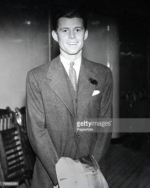 2nd March John F Kennedy son of the American ambassador in London pictured arriving at Southampton aboard the liner Queen Mary from the USA