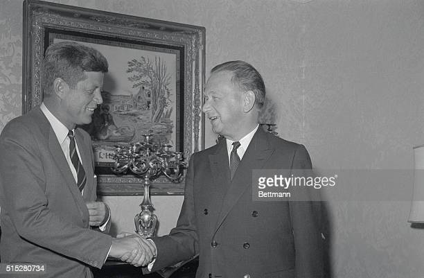 John F Kennedy with Dag Hammarskjold following a breakfast meeting at the Hotel Carlyle where they discussed international problems