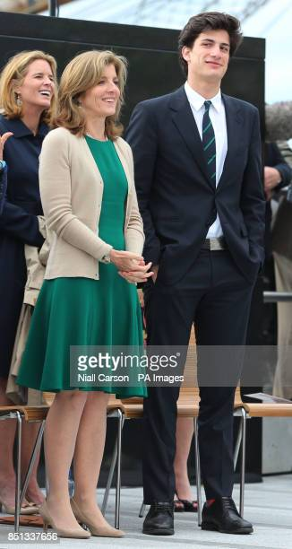 John F Kennedy's daughter Caroline Kennedy and her son Jack in the port of New Ross in Co Wexford as part of a celebration to mark the 50th...