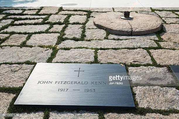 John F Kennedy's grave in Arlington National Cemetery.