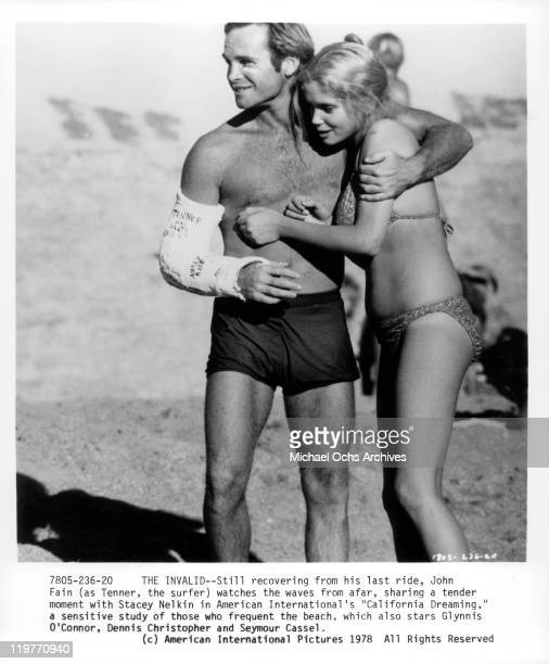 John Fain and Stacey Nelkin share a tender moment in a scene from the film 'California Dreaming' 1978