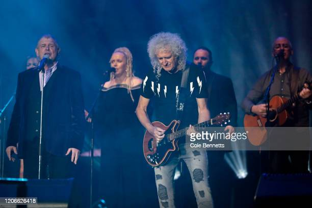 John Farnham and Brian May of Queen perform during Fire Fight Australia at ANZ Stadium on February 16 2020 in Sydney Australia