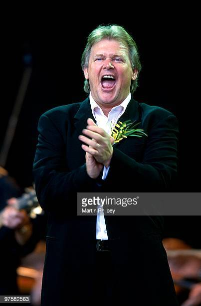 John Farnham performs on stage at the Myer Music Bowl in October 2002 in Melbourne Australia