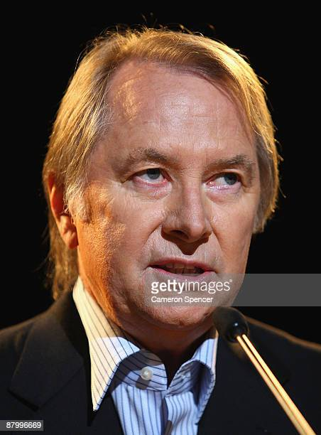 John Farnham's manager Glenn Wheatley discusses Farnham's 'Live By Demand' national tour during a media call at the Lyric Theatre on May 27 2009 in...