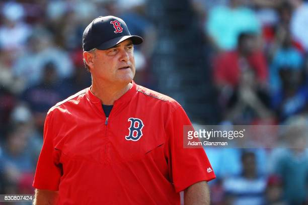 John Farrell Boston Red Sox Manager looks on during a game against the New York Yankees at Fenway Park on July 16 2017 in Boston Massachusetts