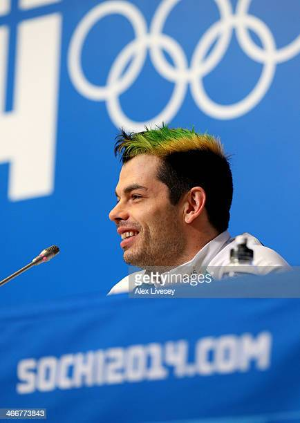 John Farrow of Australia addresses the media during an Australian Olympic team bobsleigh and Skeleton press conference at the Gorki Media Centre in...