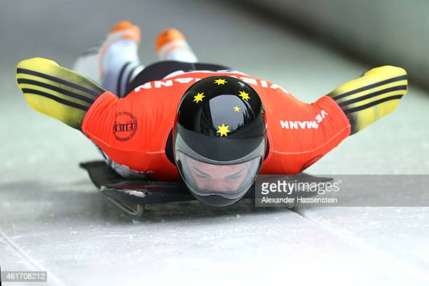 John Farrow of Australia competes during the Viessmann FIBT Skeleton World Cup at Deutche Post Eisarena on January 17 2015 in Koenigssee Germany
