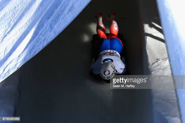 John Farrow of Australia competes in the Men's Skeleton during the BMW IBSF Bobsleigh and Skeleton World Cup at Utah Olympic Park on November 18 2017...