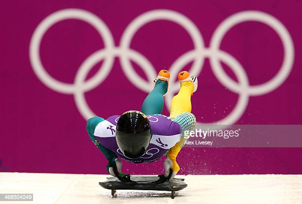 John Farrow of Australia in action during a Men's Skeleton training session on Day 3 of the Sochi 2014 Winter Olympics at the Sanki Sliding Center on...