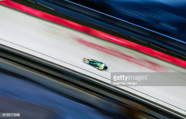 John Farrow of Australia practices during Men's Skeleton training ahead of the PyeongChang 2018 Winter Olympic Games at the Olympic Sliding Centre on...