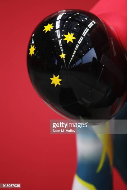 John Farrow of Australia prepares to make a run during a Men's Skeleton training session on day five of the PyeongChang 2018 Winter Olympics at the...