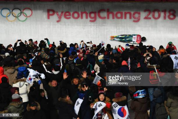 John Farrow of Australia slides during the Men's Skeleton heats at Olympic Sliding Centre on February 16 2018 in Pyeongchanggun South Korea