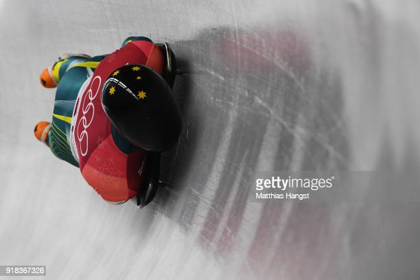 John Farrow of Australia slides during the Men's Skeleton heats on day six of the PyeongChang 2018 Winter Olympic Games at the Olympic Sliding Centre...