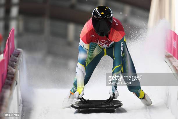 John Farrow of Australia slides into the finish area during the Men's Skeleton heats on day six of the PyeongChang 2018 Winter Olympic Games at the...