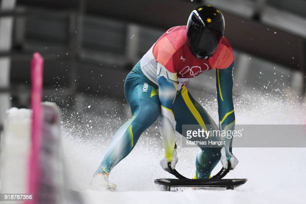 John Farrow of Australia slides into the finish area during the Men's Skeleton heats at Olympic Sliding Centre on February 16, 2018 in...