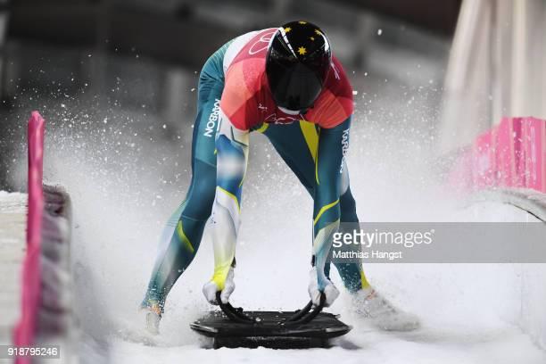 John Farrow of Australia slides into the finish area during the Men's Skeleton heats at Olympic Sliding Centre on February 16 2018 in Pyeongchanggun...