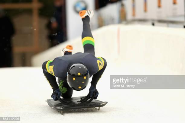 John Farrow of Australia takes a training run in the Men's Skeleton during the BMW IBSF Bobsleigh Skeleton World Cup at Utah Olympic Park November 16...