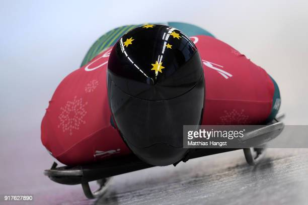 John Farrow of Australia trains during the Mens Skeleton training session on day four of the PyeongChang 2018 Winter Olympic Games at Olympic Sliding...