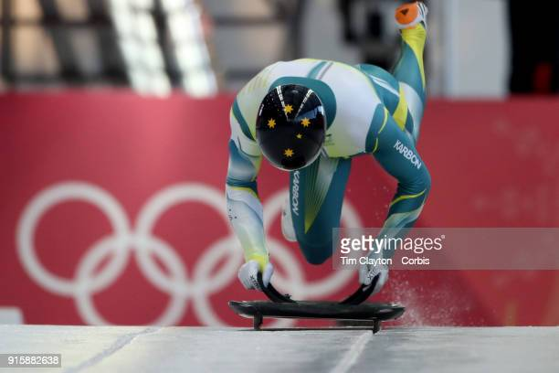 John Farrow of the Australia in action during the Men's Skeleton training run ahead of the PyeongChang 2018 Winter Olympic Games at Olympic Sliding...