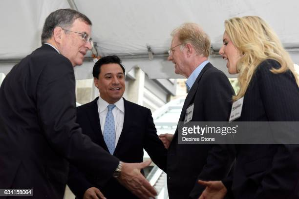 John Fasana Jose Huizar Ed Begley Jr and Heather Border attend the Opening of the New Pedestrian Passageway at The Bloc on February 7 2017 in Los...
