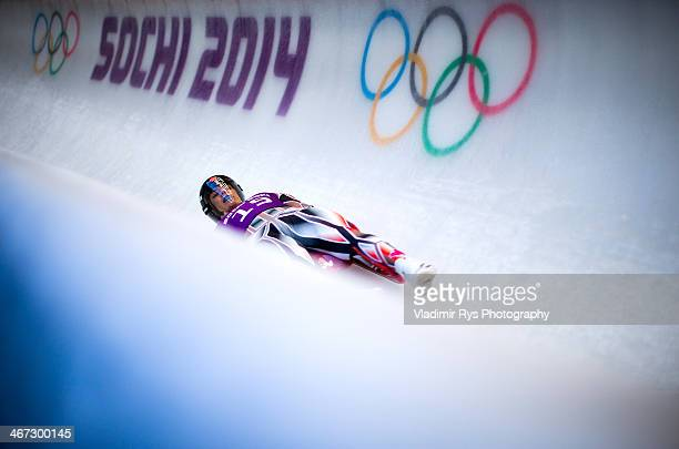 John Fennell of Canada in action at luge men's singles training session at Sanki Sliding Center during previews for the Sochi 2014 Winter Olympics at...