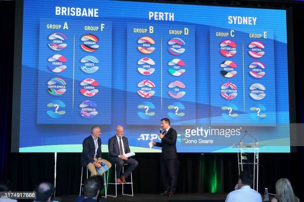 John Fitzgerald and Wally Masur speak in Brisbane during the 2020 ATP Cup Draw on September 16 2019 in Brisbane Australia