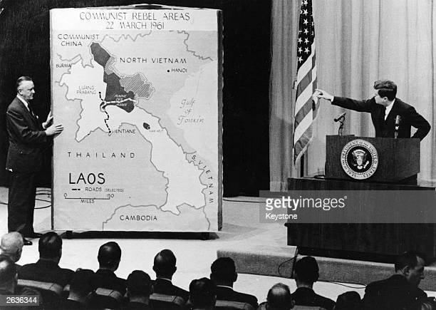 John Fitzgerald Kennedy 35th President of America holding a press conference on Laos at the White House