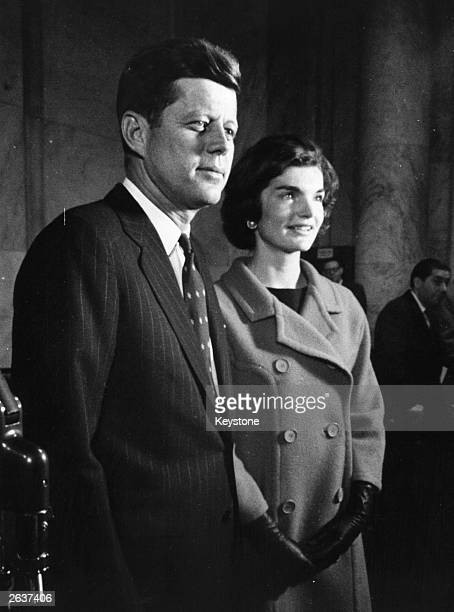 John Fitzgerald Kennedy American senator with his wife seeking the Democratic nomination for the presidential election