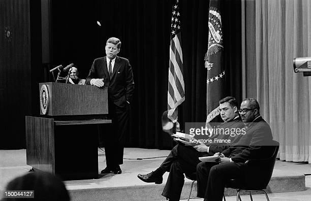 John Fitzgerald Kennedy during a press conference on March 14 1962 in Washington DC United States