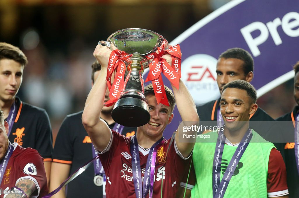 John Flanagan of Liverpool lifts the Premier League Asia Trophy after the Premier League Asia Trophy Final between Liverpool FC and Leicester City on July 22, 2017 in So Kon Po, Hong Kong.