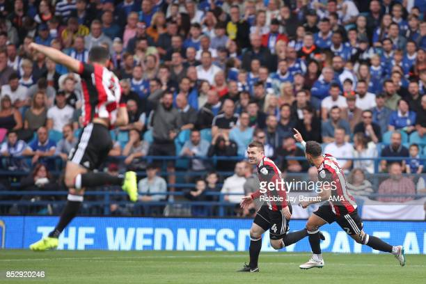 John Fleck of Sheffield United celebrates after scoring a goal to make it 01 during the Sky Bet Championship match between Sheffield Wednesday and...