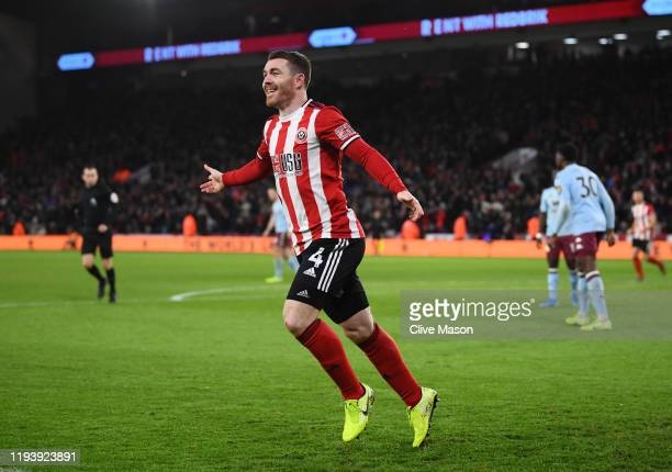 John Fleck of Sheffield United celebrates after scoring his team's first goal during the Premier League match between Sheffield United and Aston...